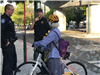 Biker with bubbles at Bike to Work Day 2018