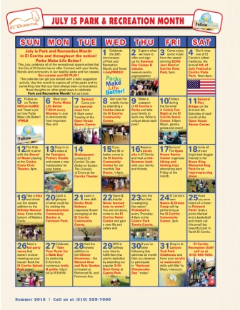 July Park and Recreation Month Calendar